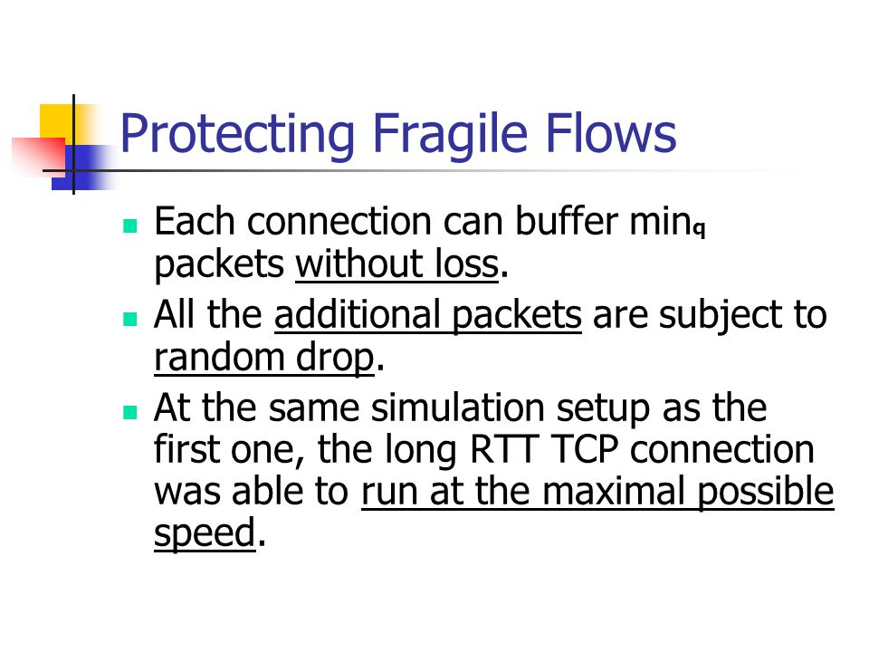 Protecting Fragile Flows Each connection can buffer min q packets without loss.