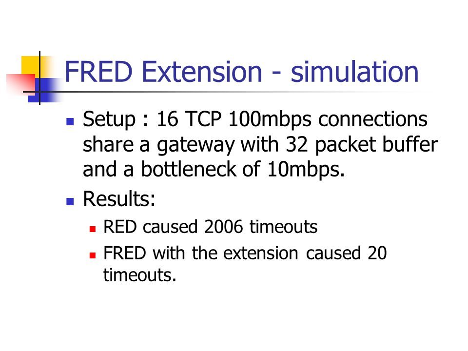 FRED Extension - simulation Setup : 16 TCP 100mbps connections share a gateway with 32 packet buffer and a bottleneck of 10mbps.