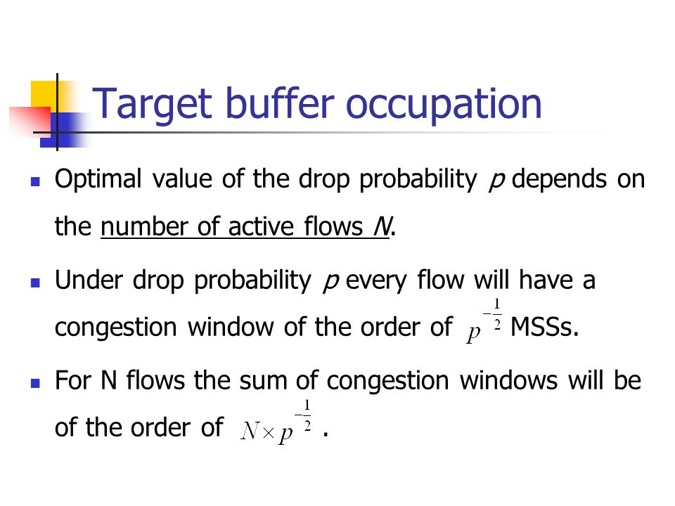 Target buffer occupation Optimal value of the drop probability p depends on the number of active flows N.