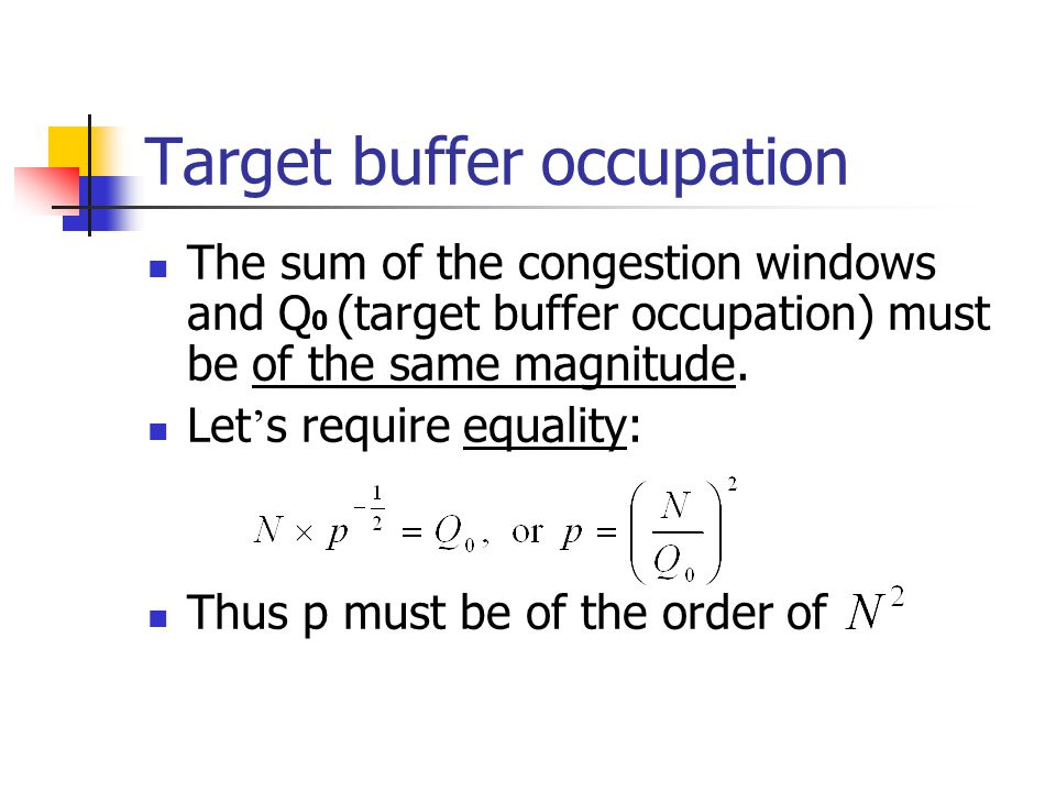 Target buffer occupation The sum of the congestion windows and Q 0 (target buffer occupation) must be of the same magnitude.
