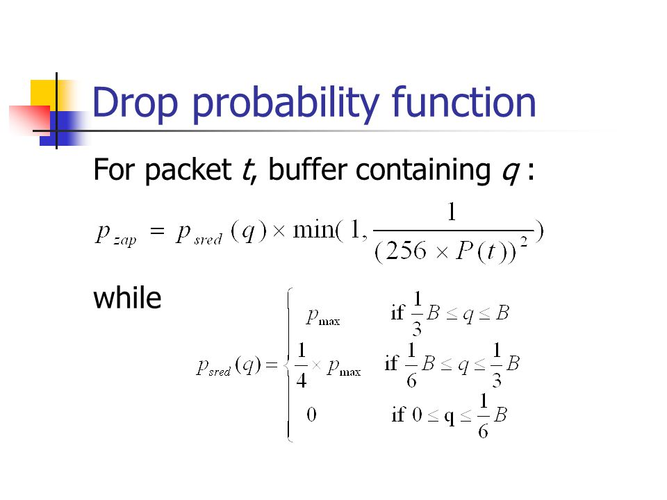 Drop probability function For packet t, buffer containing q : while