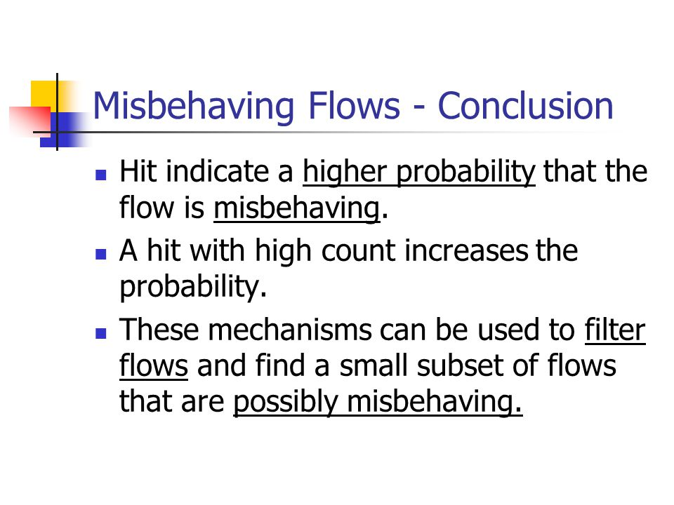 Misbehaving Flows - Conclusion Hit indicate a higher probability that the flow is misbehaving.