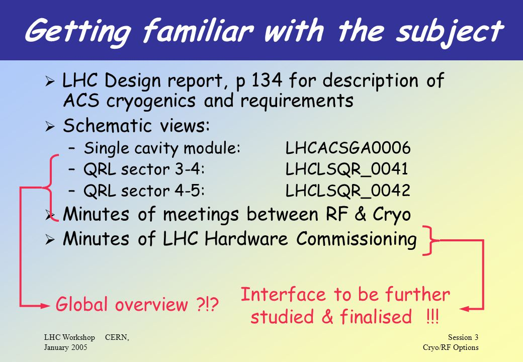 LHC Workshop CERN, January 2005 Session 3 Cryo/RF Options Getting familiar with the subject  LHC Design report, p 134 for description of ACS cryogenics and requirements  Schematic views: –Single cavity module:LHCACSGA0006 –QRL sector 3-4:LHCLSQR_0041 –QRL sector 4-5:LHCLSQR_0042  Minutes of meetings between RF & Cryo  Minutes of LHC Hardware Commissioning Global overview ?!.