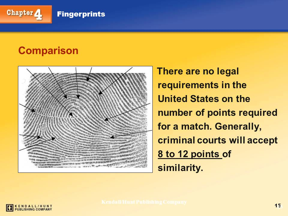 Chapter 4 Fingerprints 15 Kendall/Hunt Publishing Company 15 Comparison There are no legal requirements in the United States on the number of points r
