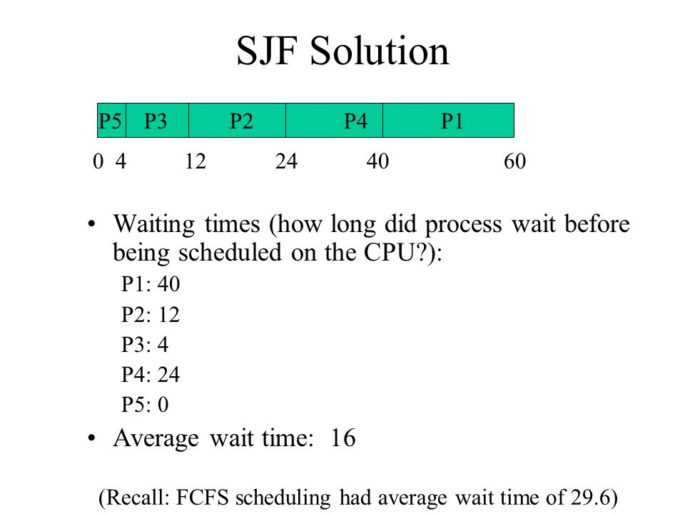 9 SJF Provably shortest average wait time BUT: What do we need to actually implement this?