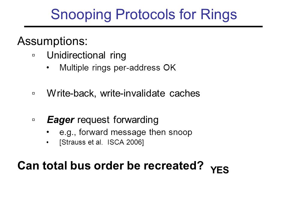 Snooping Protocols for Rings Assumptions: ▫Unidirectional ring Multiple rings per-address OK ▫Write-back, write-invalidate caches ▫Eager request forwarding e.g., forward message then snoop [Strauss et al.