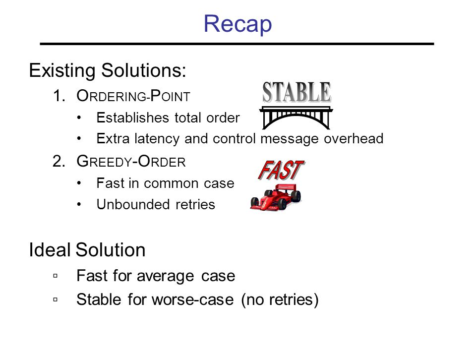 Recap Existing Solutions: 1.O RDERING- P OINT Establishes total order Extra latency and control message overhead 2.G REEDY -O RDER Fast in common case Unbounded retries Ideal Solution ▫Fast for average case ▫Stable for worse-case (no retries)