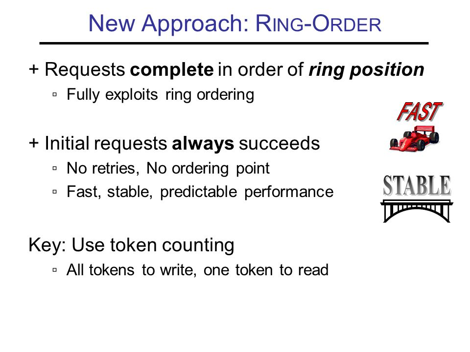 New Approach: R ING -O RDER + Requests complete in order of ring position ▫Fully exploits ring ordering + Initial requests always succeeds ▫No retries, No ordering point ▫Fast, stable, predictable performance Key: Use token counting ▫All tokens to write, one token to read