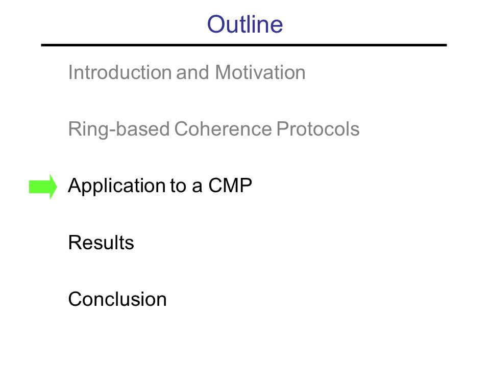Outline Introduction and Motivation Ring-based Coherence Protocols Application to a CMP Results Conclusion