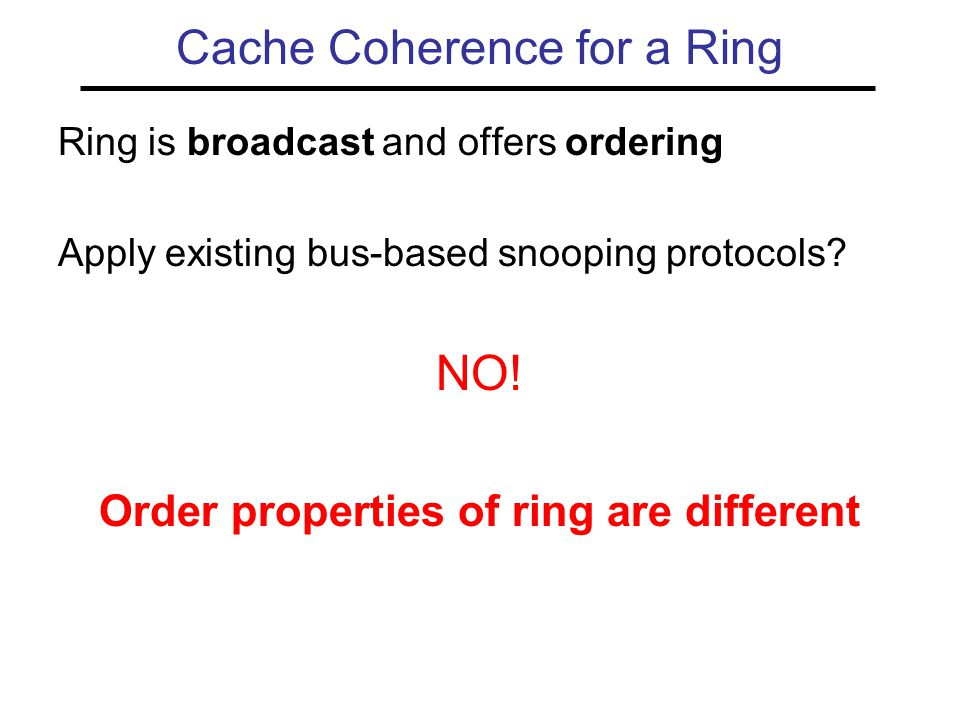 Ring is broadcast and offers ordering Apply existing bus-based snooping protocols.