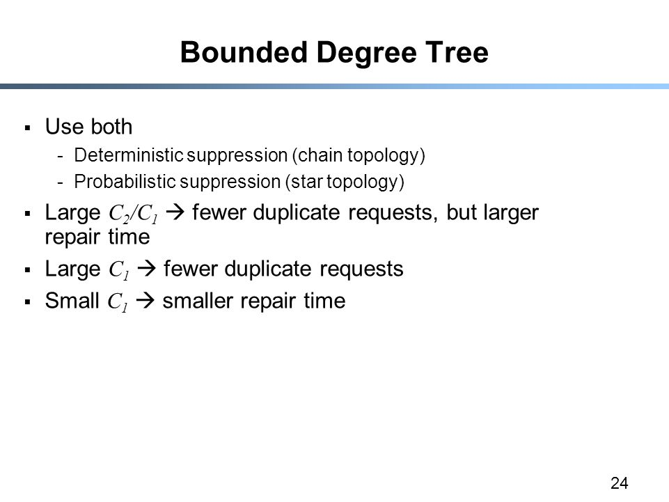 24 Bounded Degree Tree  Use both -Deterministic suppression (chain topology) -Probabilistic suppression (star topology)  Large C 2 /C 1  fewer duplicate requests, but larger repair time  Large C 1  fewer duplicate requests  Small C 1  smaller repair time