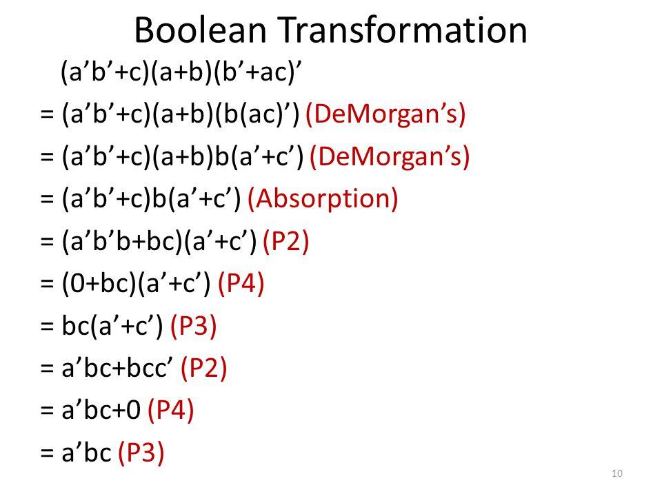 Boolean Transformation (a'b'+c)(a+b)(b'+ac)' = (a'b'+c)(a+b)(b(ac)') (DeMorgan's) = (a'b'+c)(a+b)b(a'+c') (DeMorgan's) = (a'b'+c)b(a'+c') (Absorption)