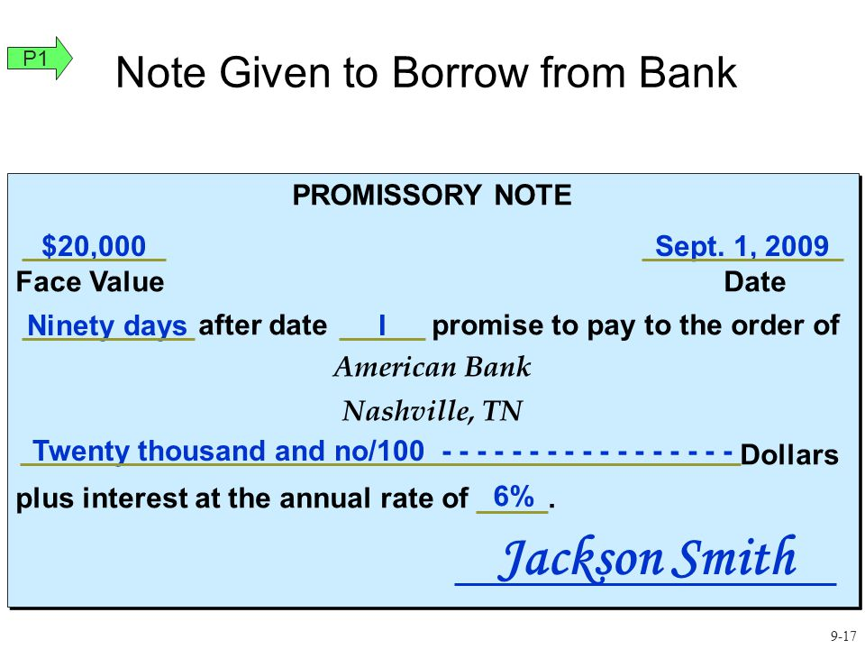 Face Value Equals Amount Borrowed On September 1, 2009, Jackson Smith borrows $20,000 from American Bank.
