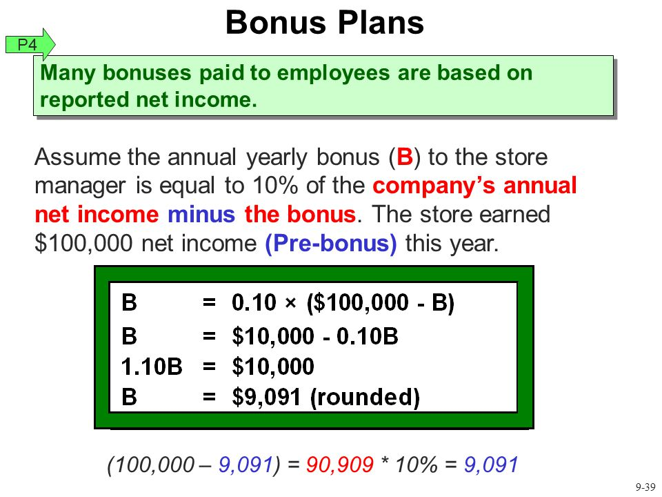 Many bonuses paid to employees are based on reported net income.