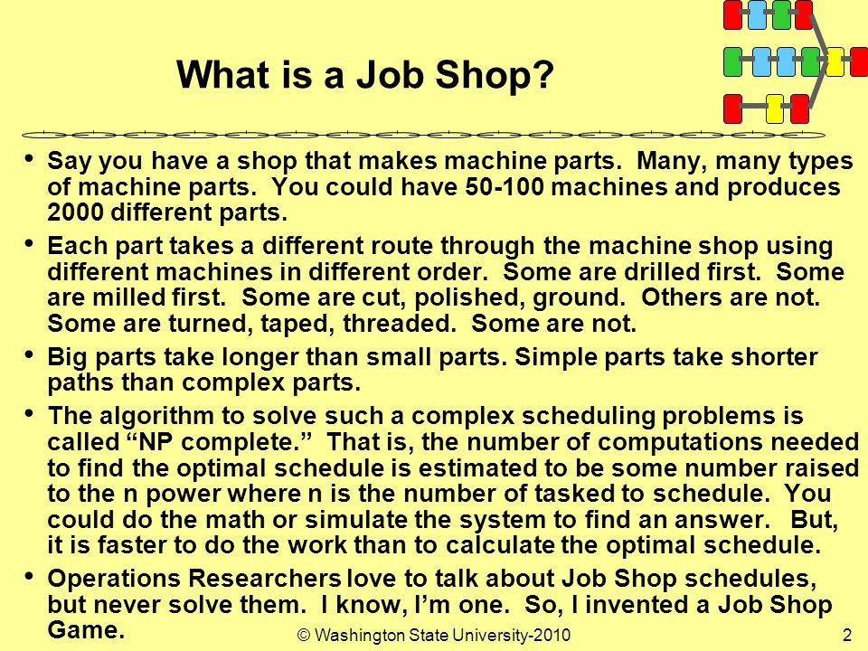 © Washington State University-20102 What is a Job Shop.