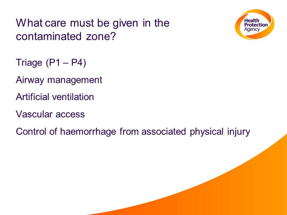 What care must be given in the contaminated zone? Triage (P1 – P4) Airway management Artificial ventilation Vascular access Control of haemorrhage fro