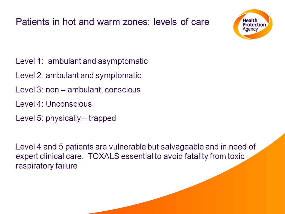 Patients in hot and warm zones: levels of care Level 1: ambulant and asymptomatic Level 2: ambulant and symptomatic Level 3: non – ambulant, conscious