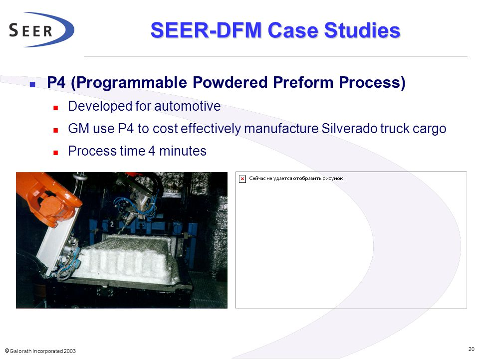  Galorath Incorporated 2003 20 SEER-DFM Case Studies P4 (Programmable Powdered Preform Process) Developed for automotive GM use P4 to cost effective