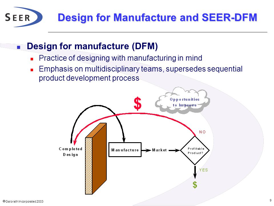  Galorath Incorporated 2003 9 Design for Manufacture and SEER-DFM Design for manufacture (DFM) Practice of designing with manufacturing in mind Emph
