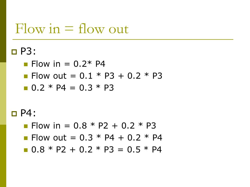 Flow in = flow out  P3: Flow in = 0.2* P4 Flow out = 0.1 * P3 + 0.2 * P3 0.2 * P4 = 0.3 * P3  P4: Flow in = 0.8 * P2 + 0.2 * P3 Flow out = 0.3 * P4