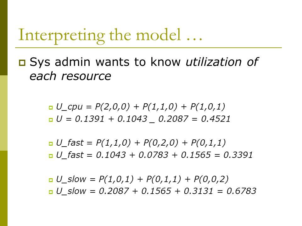 Interpreting the model …  Sys admin wants to know utilization of each resource  U_cpu = P(2,0,0) + P(1,1,0) + P(1,0,1)  U = 0.1391 + 0.1043 _ 0.2087 = 0.4521  U_fast = P(1,1,0) + P(0,2,0) + P(0,1,1)  U_fast = 0.1043 + 0.0783 + 0.1565 = 0.3391  U_slow = P(1,0,1) + P(0,1,1) + P(0,0,2)  U_slow = 0.2087 + 0.1565 + 0.3131 = 0.6783