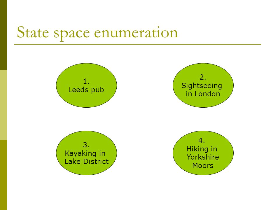 State space enumeration  (2,0,0) Both users at CPU  (1,1,0) One user at CPU, one at fast disk  (1,0,1) One user at cpu, one at slow disk  (0,2,0) Two users at fast disk  (0,1,1) One user at fast disk, one user at slow disk  (0,0,2) Two users at slow disk