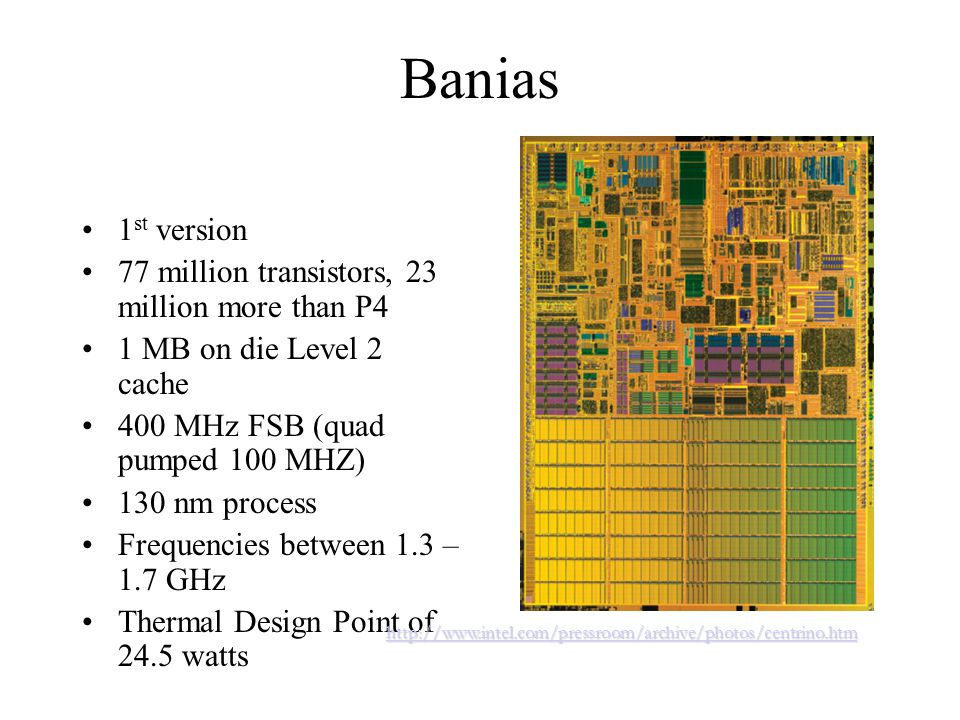 Banias 1 st version 77 million transistors, 23 million more than P4 1 MB on die Level 2 cache 400 MHz FSB (quad pumped 100 MHZ) 130 nm process Frequencies between 1.3 – 1.7 GHz Thermal Design Point of 24.5 watts http://www.intel.com/pressroom/archive/photos/centrino.htm