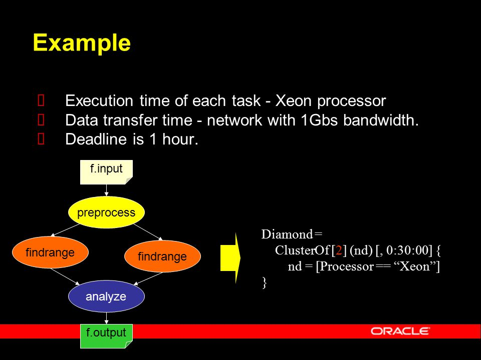 Example  Execution time of each task - Xeon processor  Data transfer time - network with 1Gbs bandwidth.