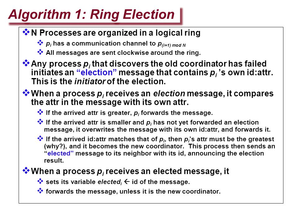 N Processes are organized in a logical ring  p i has a communication channel to p (i+1) mod N  All messages are sent clockwise around the ring. 