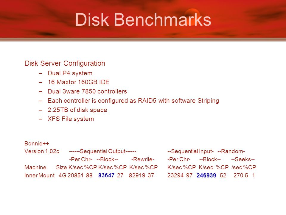 Disk Benchmarks Disk Server Configuration –Dual P4 system –16 Maxtor 160GB IDE –Dual 3ware 7850 controllers –Each controller is configured as RAID5 with software Striping –2.25TB of disk space –XFS File system Bonnie++ Version 1.02c ------Sequential Output------ --Sequential Input- --Random- -Per Chr- --Block-- -Rewrite- -Per Chr- --Block-- --Seeks-- Machine Size K/sec %CP K/sec %CP K/sec %CP K/sec %CP K/sec %CP /sec %CP 246939 Inner Mount 4G 20851 88 83647 27 82919 37 23294 97 246939 52 270.5 1