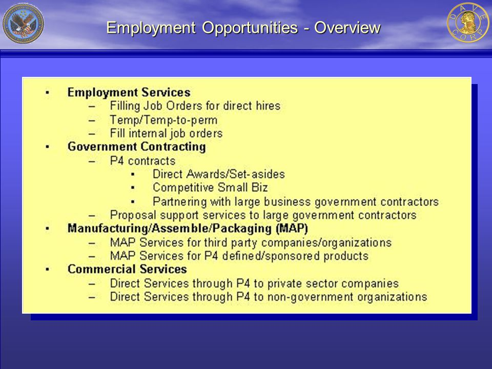 Employment Opportunities - Overview