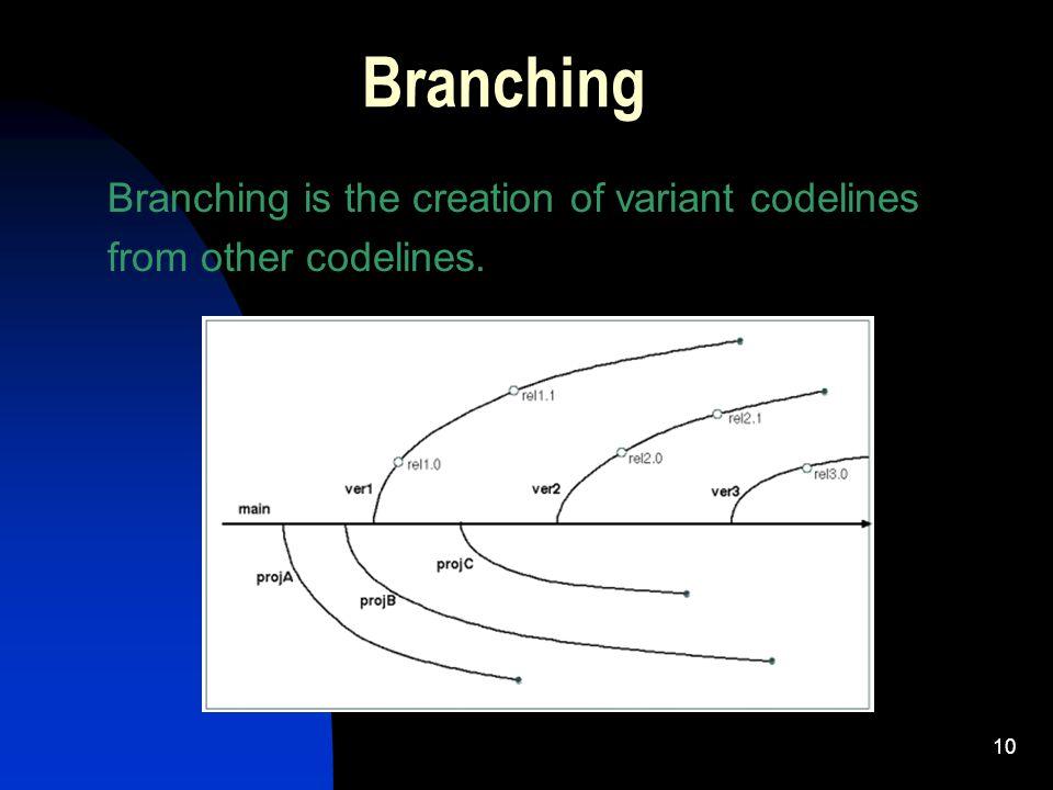 10 Branching Branching is the creation of variant codelines from other codelines.