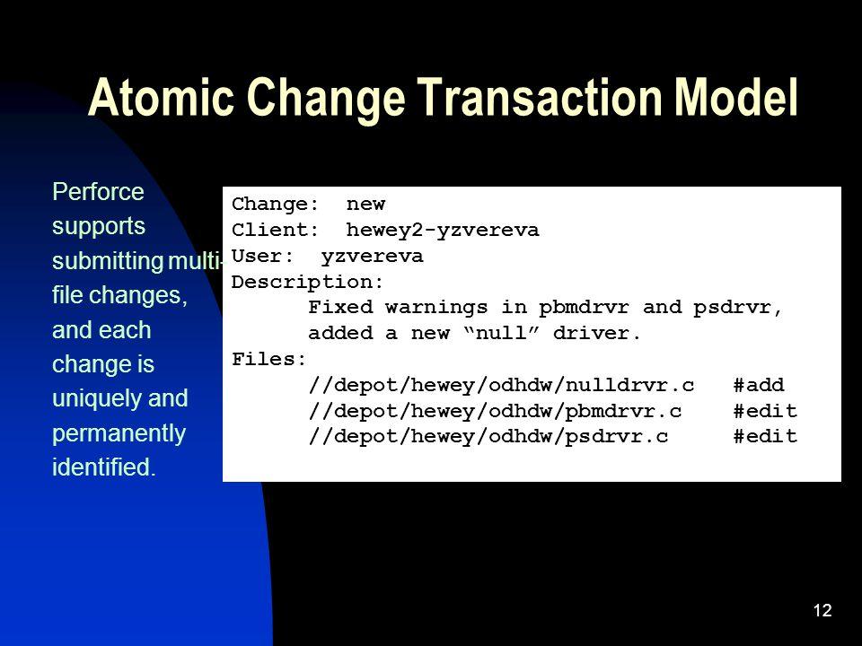 12 Atomic Change Transaction Model Change: new Client: hewey2-yzvereva User: yzvereva Description: Fixed warnings in pbmdrvr and psdrvr, added a new null driver.