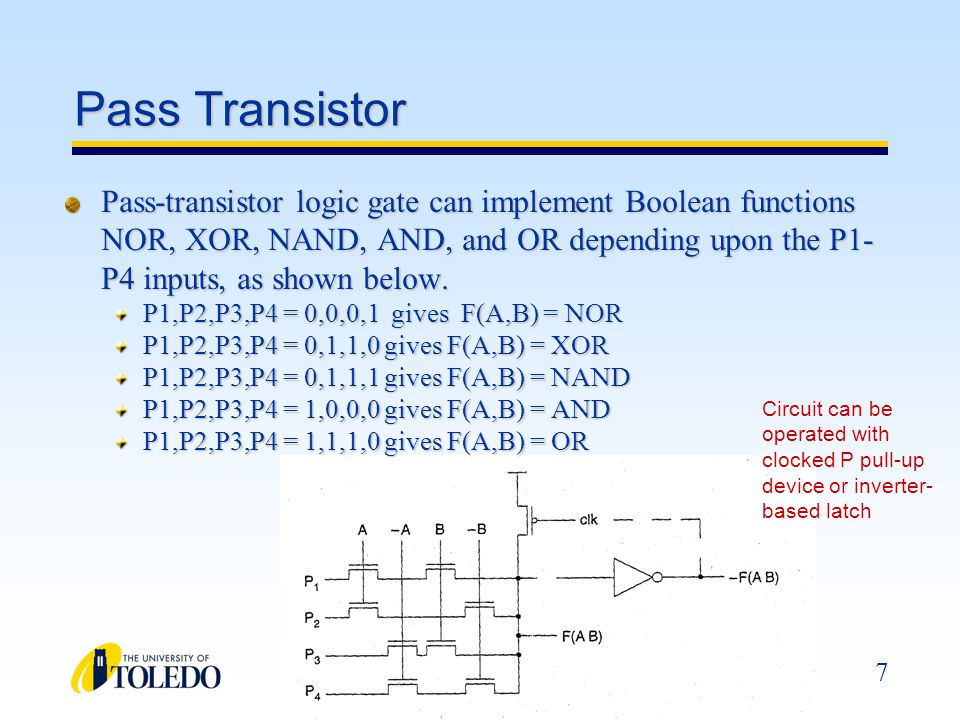 8 Transmission Gates N-Channel MOS Transistors pass a 0 better than a 1 P-Channel MOS Transistors pass a 1 better than a 0 This is the reason that N-Channel transistors are used in the pull-down network and P-Channel in the pull-up network of a CMOS gate.