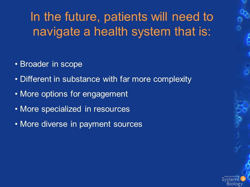 The health system as a networked environment Patient Pharmaceuticals Today, doctors and hospitals are the primary axes in the healthcare system, but in the future they will be nodes in a large and complex network.