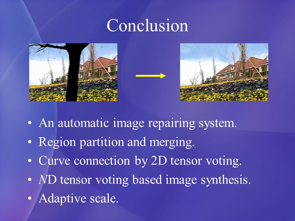 Conclusion An automatic image repairing system. Region partition and merging.
