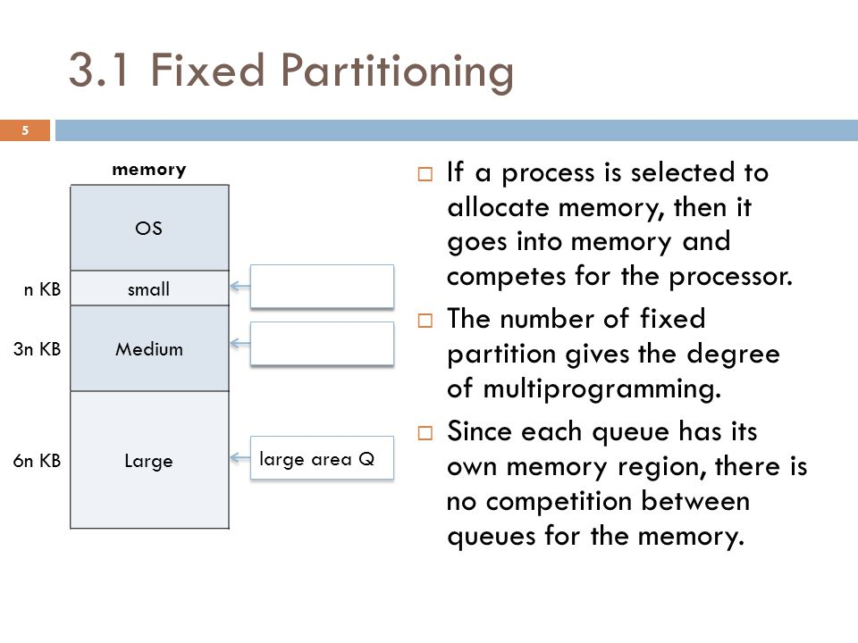 3.1 Fixed Partitioning  If a process is selected to allocate memory, then it goes into memory and competes for the processor.