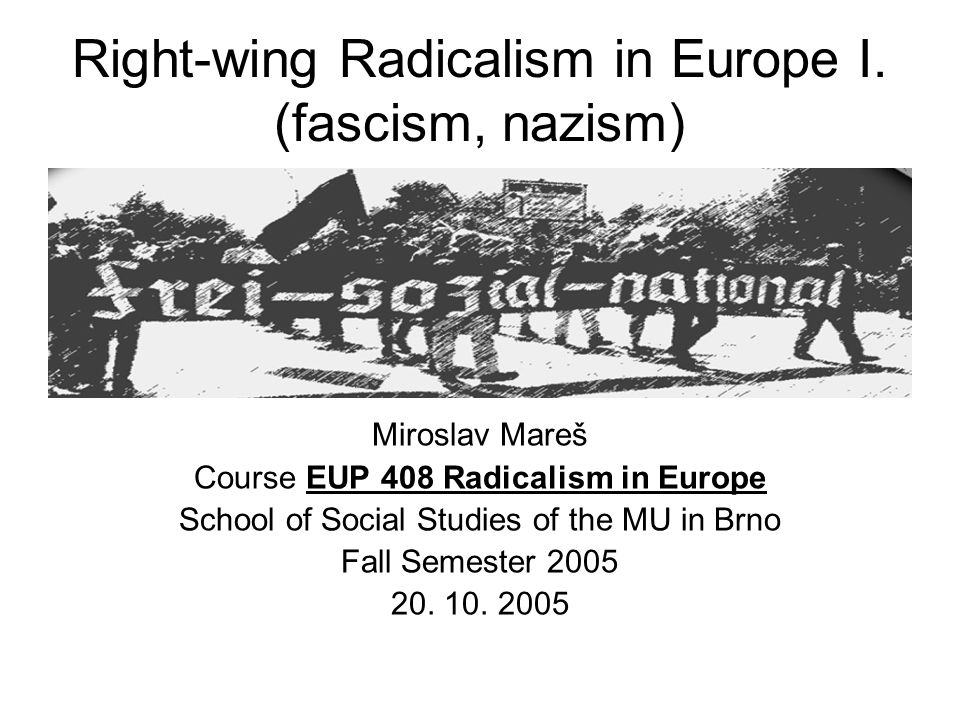 Typology of contemporary far right Authoritarian conservatism Fascism/neo- fascism Nazism/neo- nazism New populist right