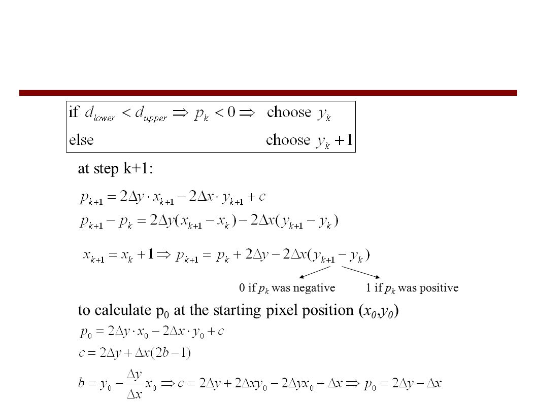 at step k+1: 0 if p k was negative1 if p k was positive to calculate p 0 at the starting pixel position (x 0,y 0 )