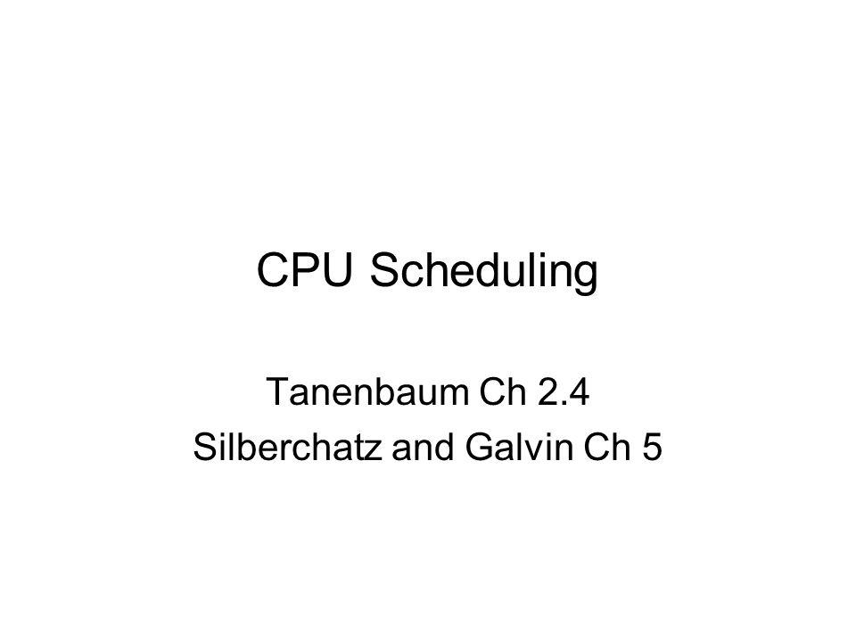 CPU Scheduling Tanenbaum Ch 2.4 Silberchatz and Galvin Ch 5