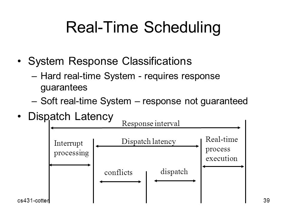 cs431-cotter39 Real-Time Scheduling System Response Classifications –Hard real-time System - requires response guarantees –Soft real-time System – response not guaranteed Dispatch Latency Interrupt processing conflicts dispatch Real-time process execution Dispatch latency Response interval