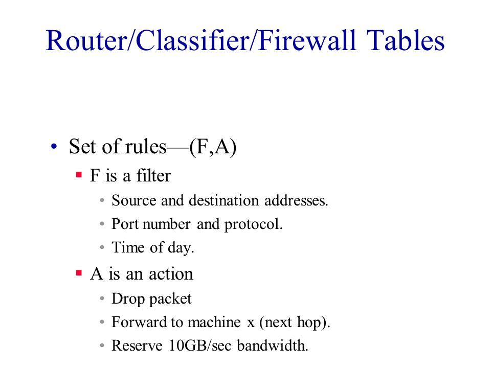 Router/Classifier/Firewall Tables Set of rules—(F,A)  F is a filter Source and destination addresses.