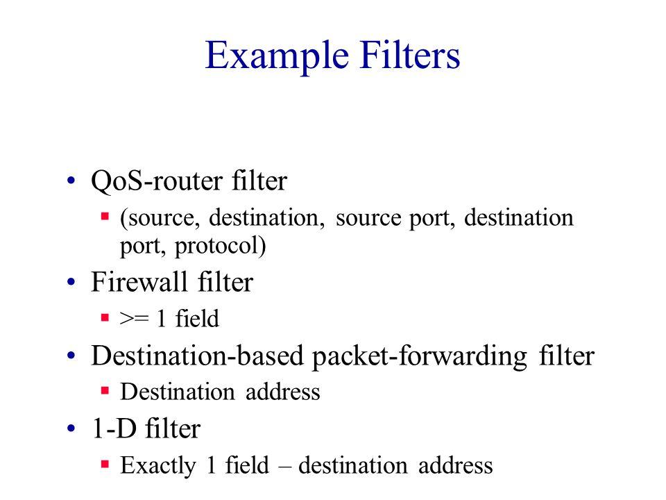 Example Filters QoS-router filter  (source, destination, source port, destination port, protocol) Firewall filter  >= 1 field Destination-based packet-forwarding filter  Destination address 1-D filter  Exactly 1 field – destination address