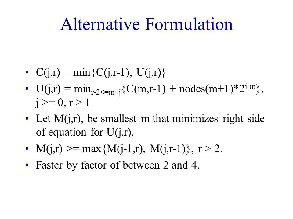 Alternative Formulation C(j,r) = min{C(j,r-1), U(j,r)} U(j,r) = min r-2 = 0, r > 1 Let M(j,r), be smallest m that minimizes right side of equation for U(j,r).