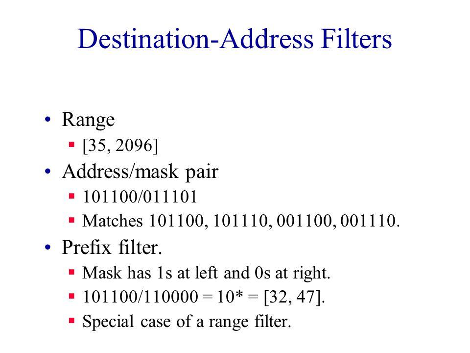 Destination-Address Filters Range  [35, 2096] Address/mask pair  101100/011101  Matches 101100, 101110, 001100, 001110.