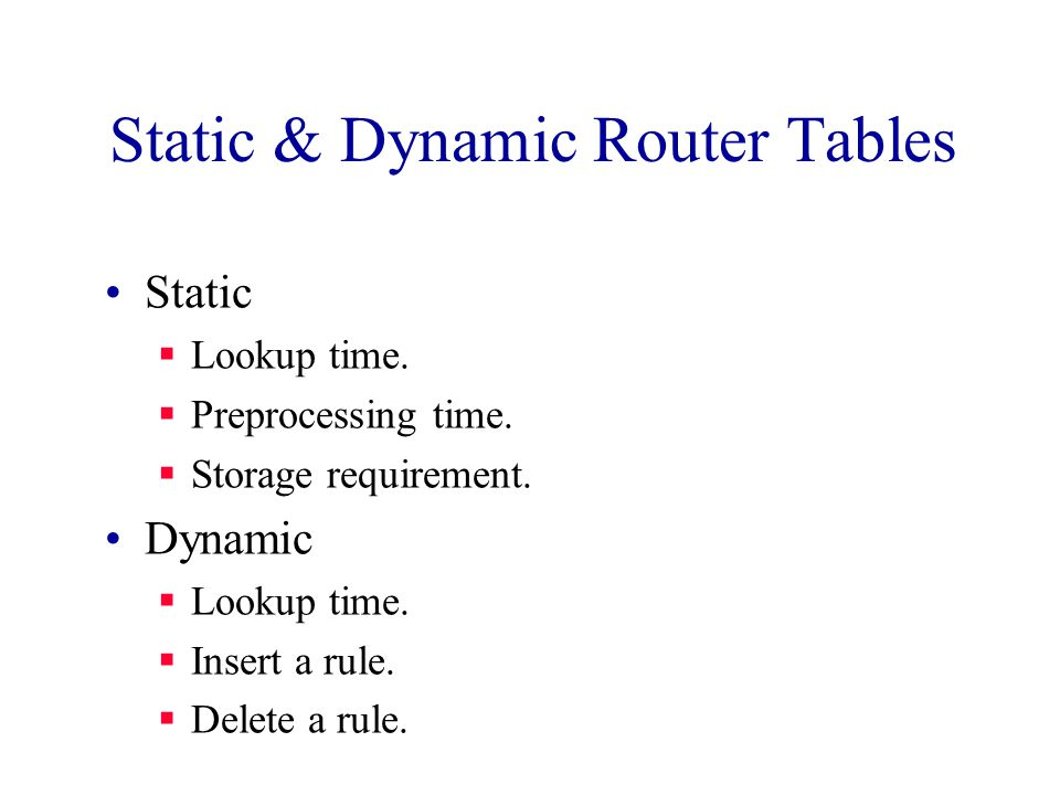 Static & Dynamic Router Tables Static  Lookup time.