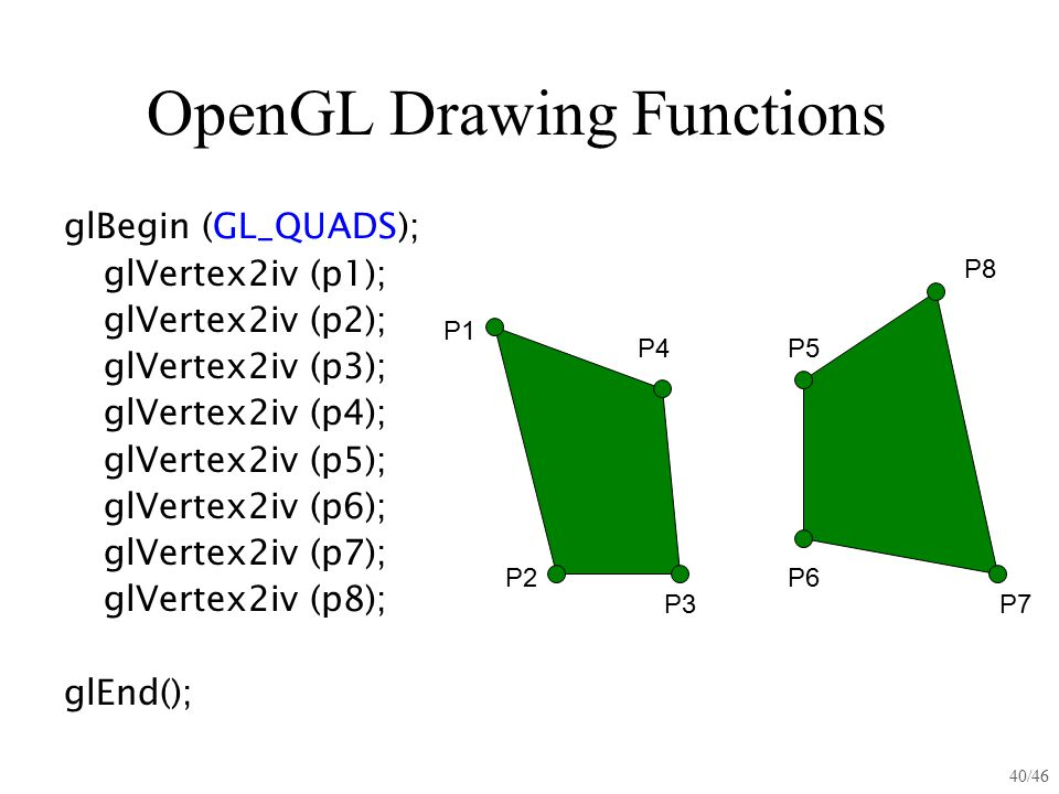 40/46 OpenGL Drawing Functions glBegin (GL_QUADS); glVertex2iv (p1); glVertex2iv (p2); glVertex2iv (p3); glVertex2iv (p4); glVertex2iv (p5); glVertex2