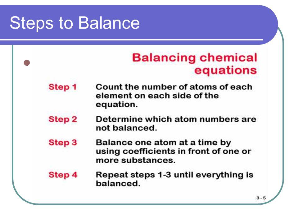 Steps to Balance