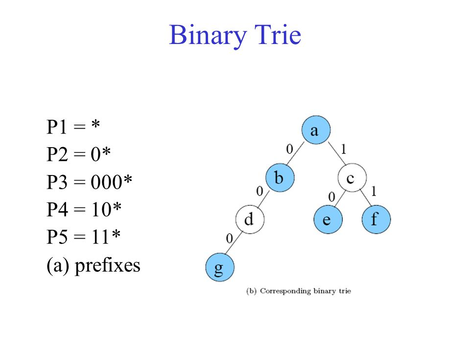Binary Trie P1 = * P2 = 0* P3 = 000* P4 = 10* P5 = 11* (a) prefixes