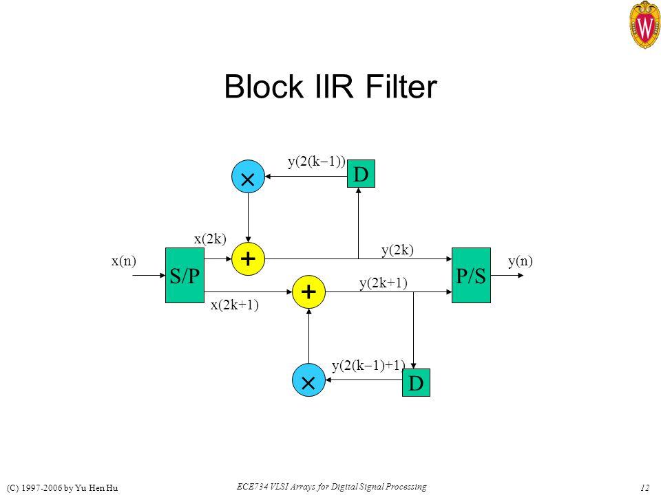 12 ECE734 VLSI Arrays for Digital Signal Processing (C) 1997-2006 by Yu Hen Hu Block IIR Filter D D S/PP/S + +   x(2k) x(2k+1) y(2k+1) y(2k) x(n)y(n) y(2(k  1)) y(2(k  1)+1)